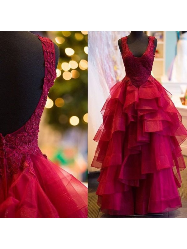 Ball Gown Sleeveless Applique V-Neck Floor-Length Tulle Dresses