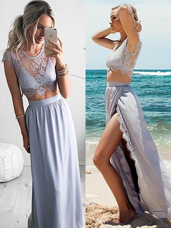 A-Line Jewel Sleeveless Satin Floor-Length Lace Two Piece Dresses