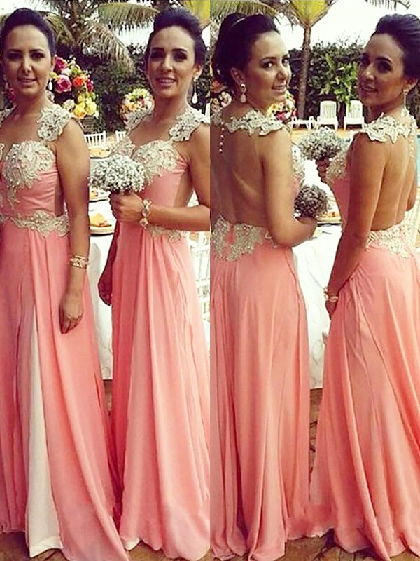 A-Line Straps Sleeveless Chiffon Applique Floor-Length Bridesmaid Dresses