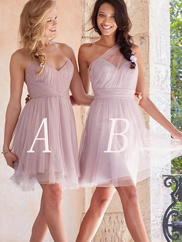 A-Line Tulle Sleeveless Short/Mini Bridesmaid Dresses