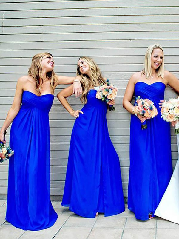 A-Line Floor-Length Sweetheart Chiffon Sleeveless Bridesmaid Dresses