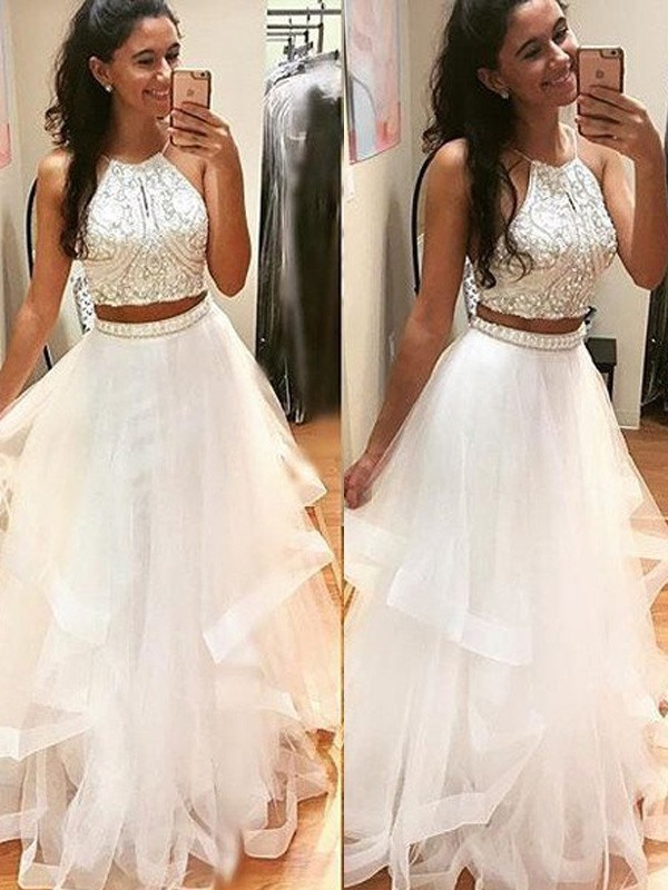 A-Line/Princess Sleeveless Halter Floor-Length Beading Tulle Dresses