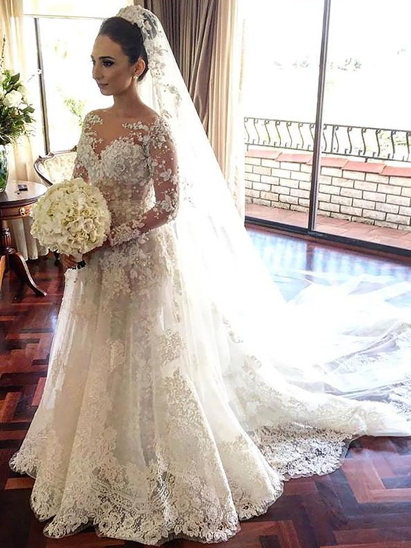 A-Line Bateau Long Sleeves Lace Chapel Train Tulle Wedding Dresses