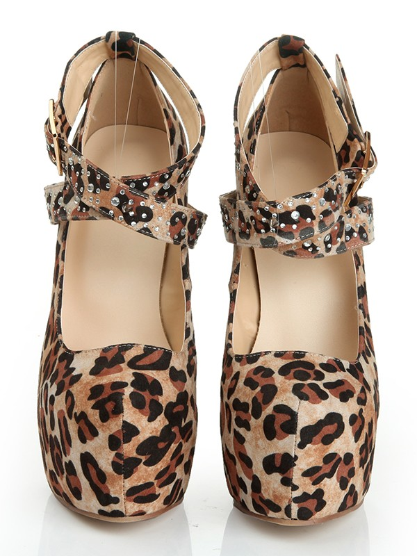 Women's Suede Stiletto Heel Closed Toe Platform With Leopard Print Platforms Shoes