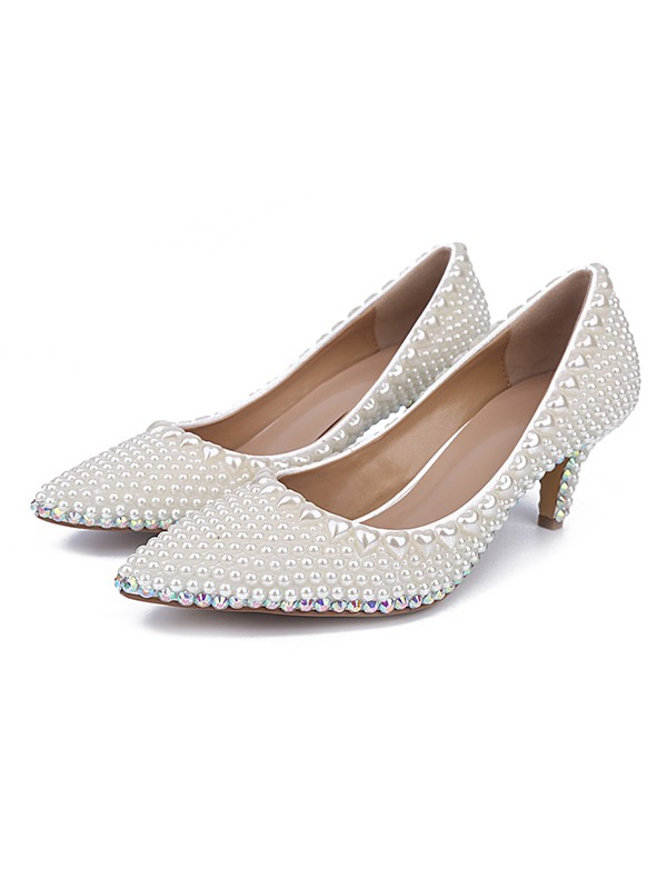 Women's Patent Leather Closed Toe Cone Heel With Pearl White Wedding Shoes