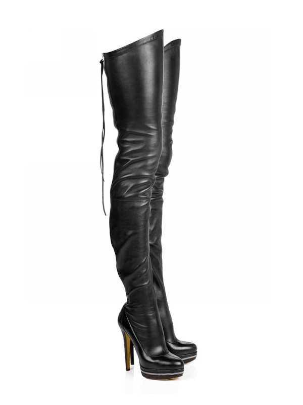 Women's Elastic Leather Stiletto Heel Platform Over The Knee Black Boots