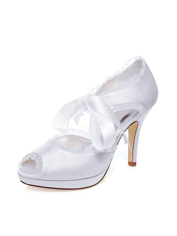 Women's Satin Peep Toe Silk Stiletto Heel Wedding Shoes