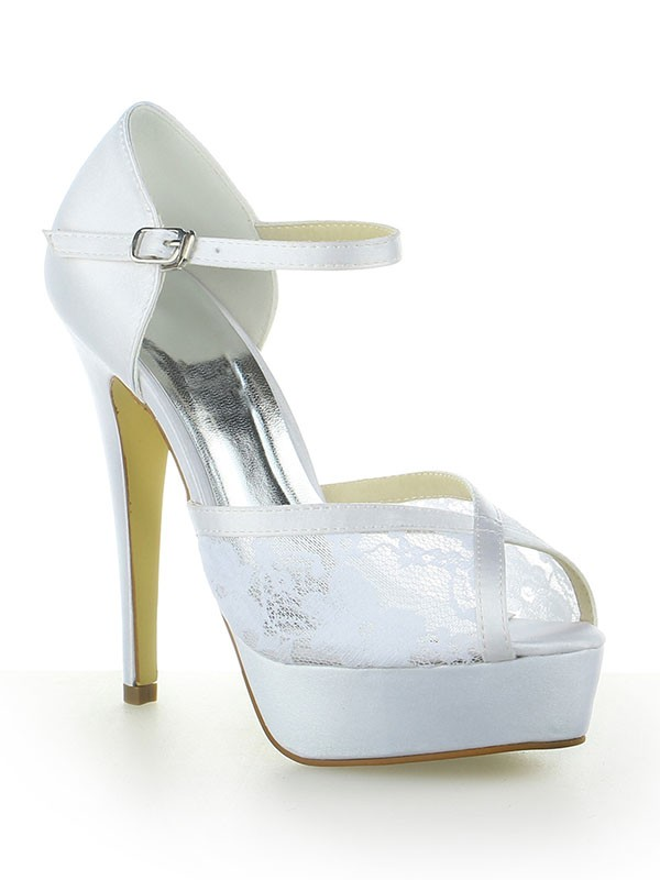 Women's Satin Lace Platform Peep Toe With Buckle Stiletto Heel White Wedding Shoes