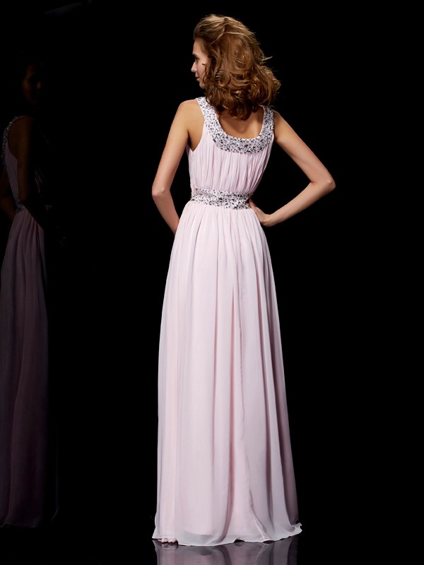 A-Line/Princess Scoop Sleeveless Beading Long Chiffon Dresses