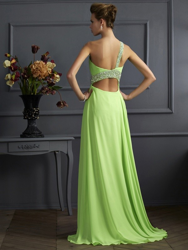A-Line/Princess Sleeveless Beading One-Shoulder Chiffon Long Dresses