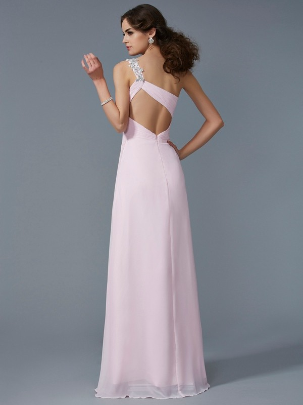 A-Line/Princess One-Shoulder Applique Sleeveless Beading Long Chiffon Dresses