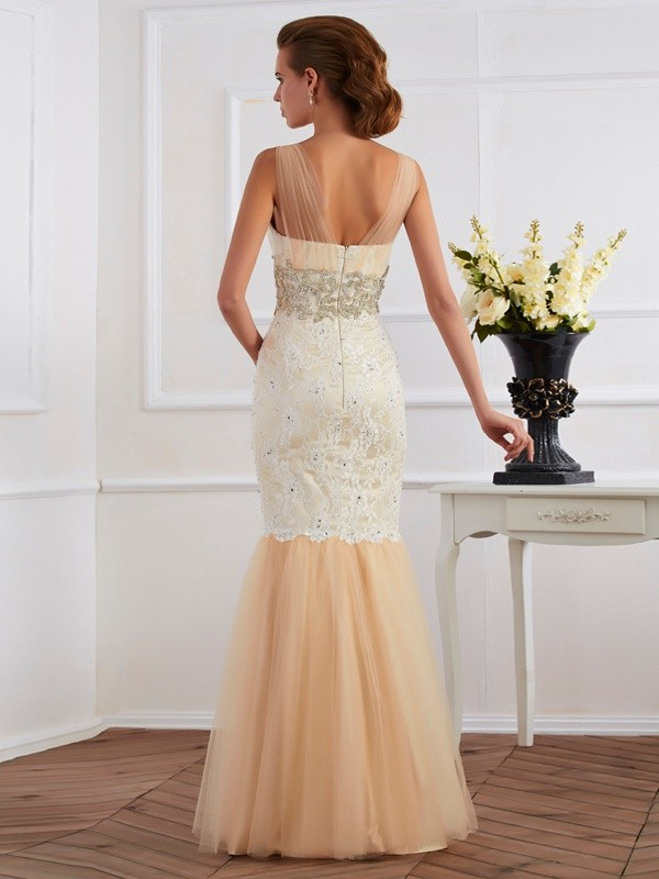 Trumpet/Mermaid Straps Sleeveless Beading Long Net Dresses