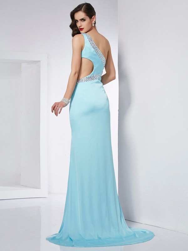 Trumpet/Mermaid One-Shoulder Sleeveless Beading Long Chiffon Dresses