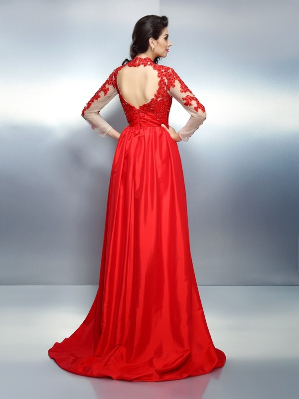 A-Line/Princess High Neck Applique Long Sleeves Long Satin Dresses