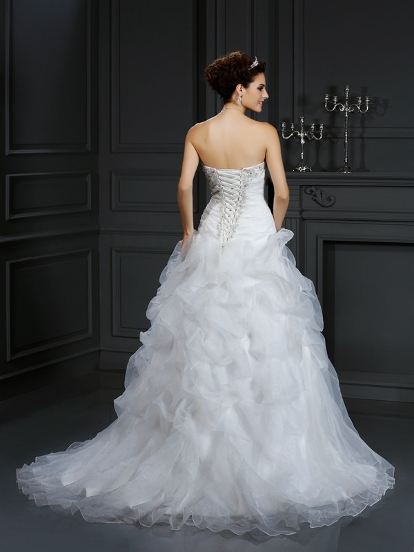 Ball Gown Strapless Beading Sleeveless Long Organza Wedding Dresses