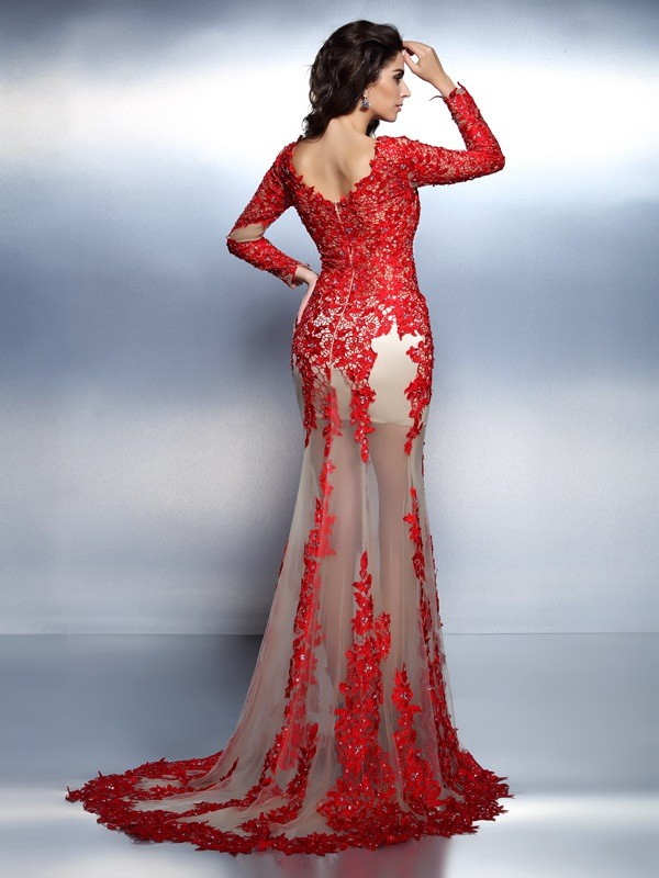 Trumpet/Mermaid V-neck Applique Long Sleeves Long Lace Dresses