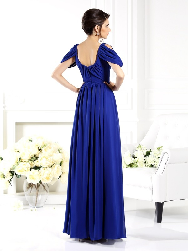A-Line/Princess Scoop Sleeveless Long Chiffon Mother of the Bride Dresses