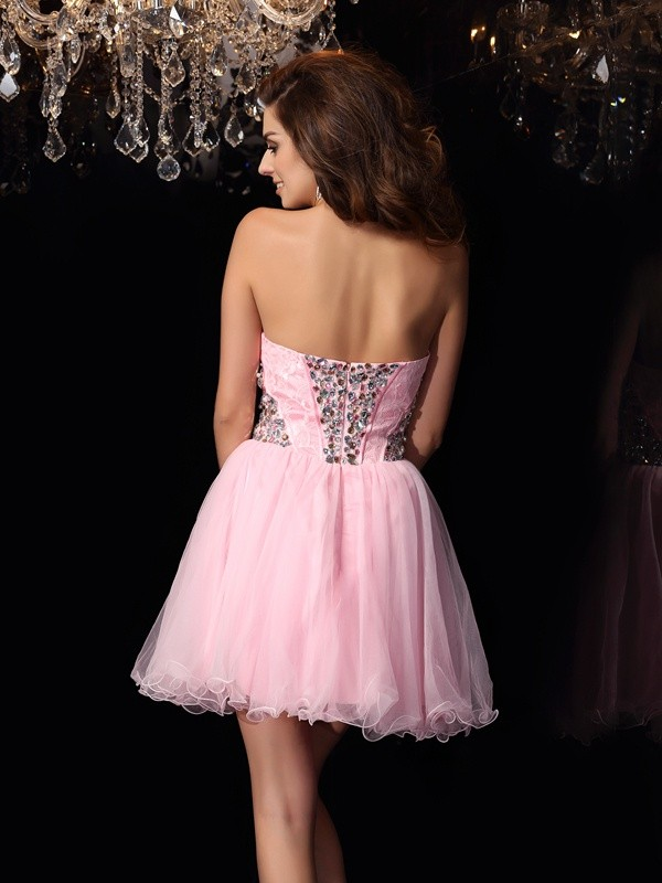 A-Line/Princess Sweetheart Ruffles Sleeveless Short Elastic Woven Satin Cocktail Dresses