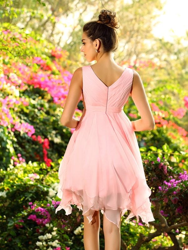 A-Line/Princess V-neck Ruffles Sleeveless Short Chiffon Bridesmaid Dresses