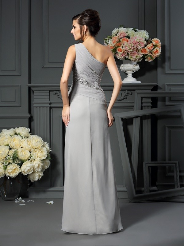 Trumpet/Mermaid One-Shoulder Beading Sleeveless Long Chiffon Mother of the Bride Dresses