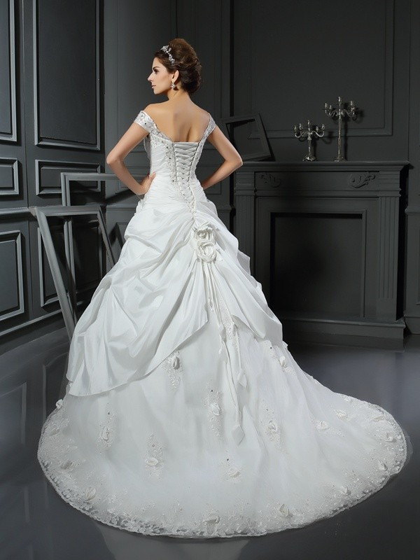 Ball Gown Off-the-Shoulder Hand-Made Flower Sleeveless Long Satin Wedding Dresses