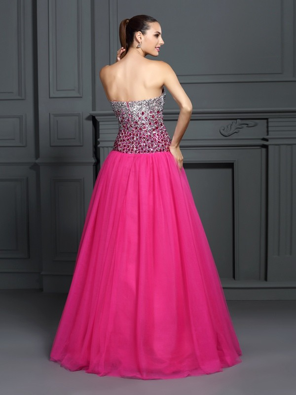 Ball Gown Sweetheart Sleeveless Long Organza Quinceanera Dresses