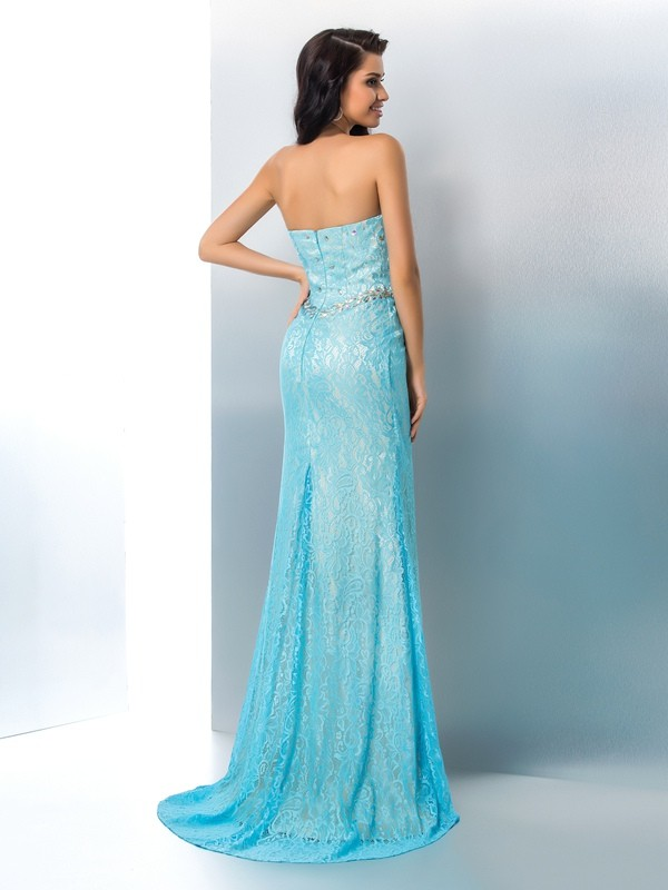 Trumpet/Mermaid Sweetheart Beading Long Sleeveless Lace Dresses