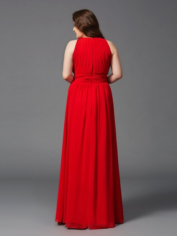 A-Line/Princess Jewel Ruched Sleeveless Long Chiffon Plus Size Dresses