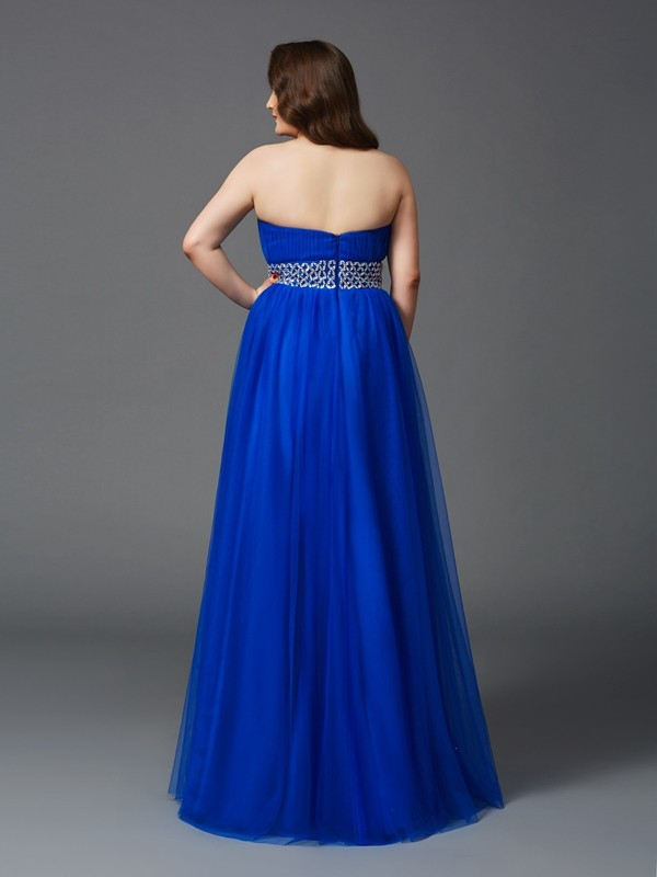 A-Line/Princess Strapless Rhinestone Sleeveless Long Net Plus Size Dresses