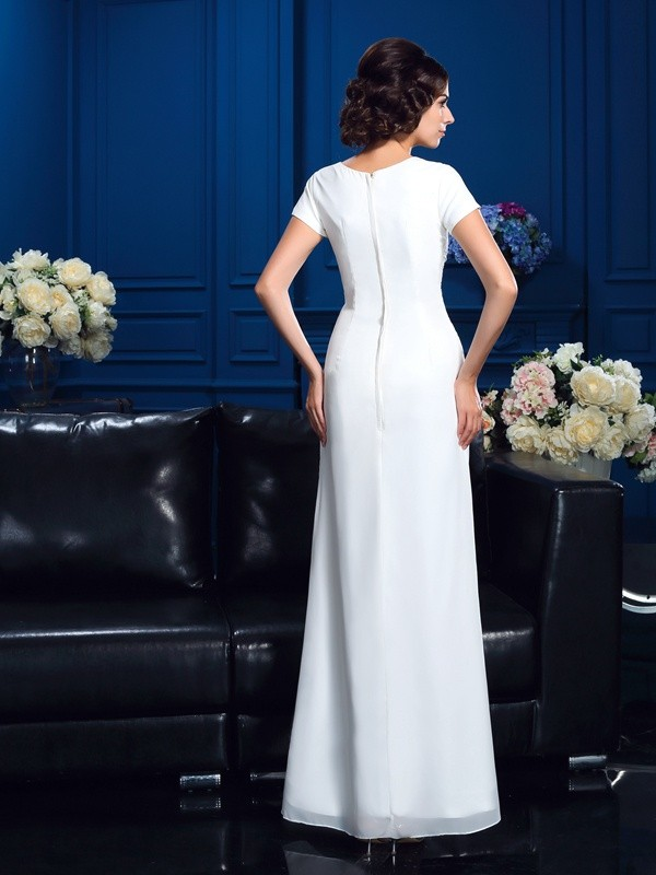 A-Line/Princess Scoop Short Sleeves High Low Chiffon Mother of the Bride Dresses