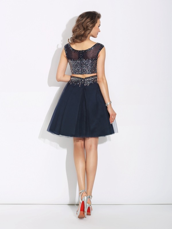 A-Line/Princess Bateau Beading Sleeveless Short Net Two Piece Dresses