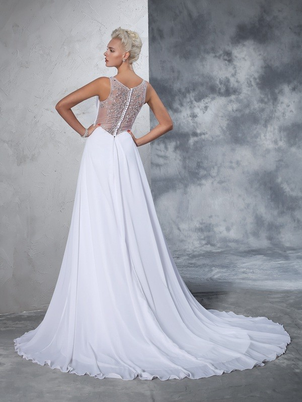 A-Line/Princess V-neck Beading Sleeveless Long Chiffon Wedding Dresses