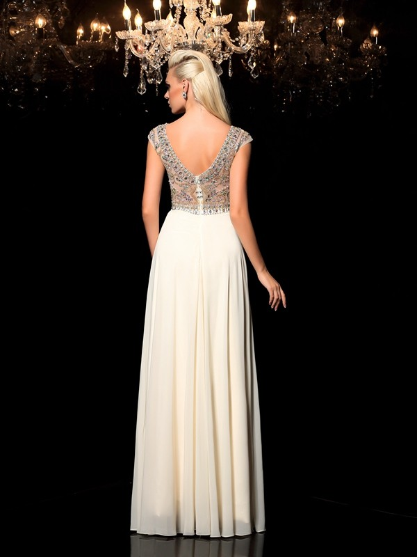 A-Line/Princess Sheer Neck Rhinestone Sleeveless Long Chiffon Dresses