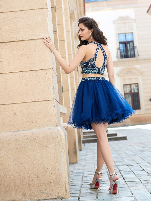 A-Line/Princess Jewel Sleeveless Beading Short/Mini Net Dresses