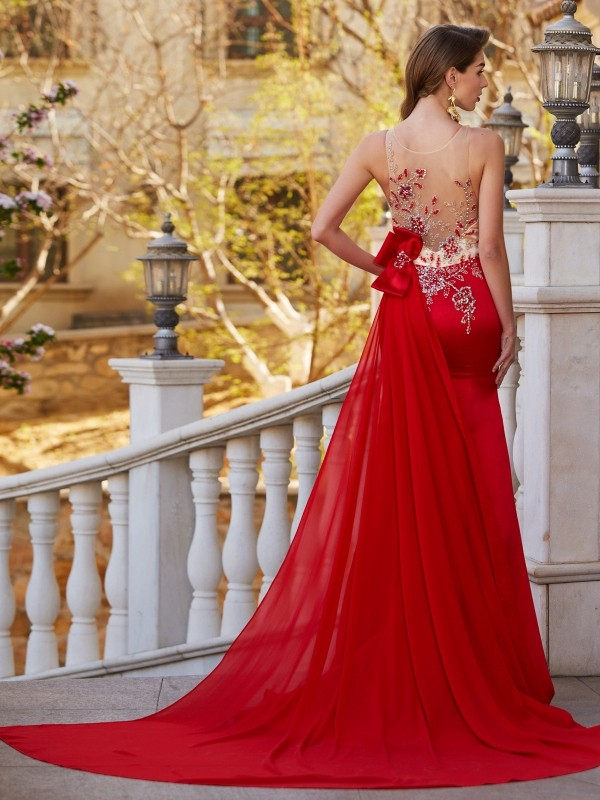 Trumpet/Mermaid Sheer Neck Sleeveless Court Train Applique Stain Dresses