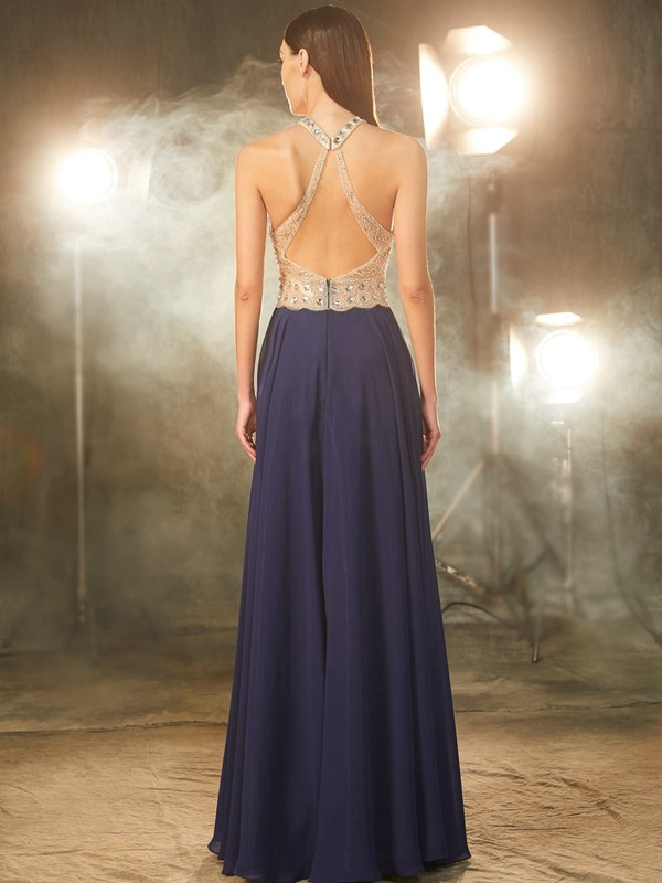 A-Line/Princess Sleeveless Straps Beading Chiffon Floor-Length Dresses