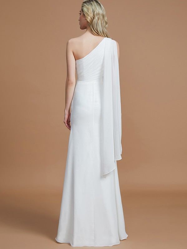 Sheath One-Shoulder Sleeveless Floor-Length Chiffon Bridesmaid Dresses