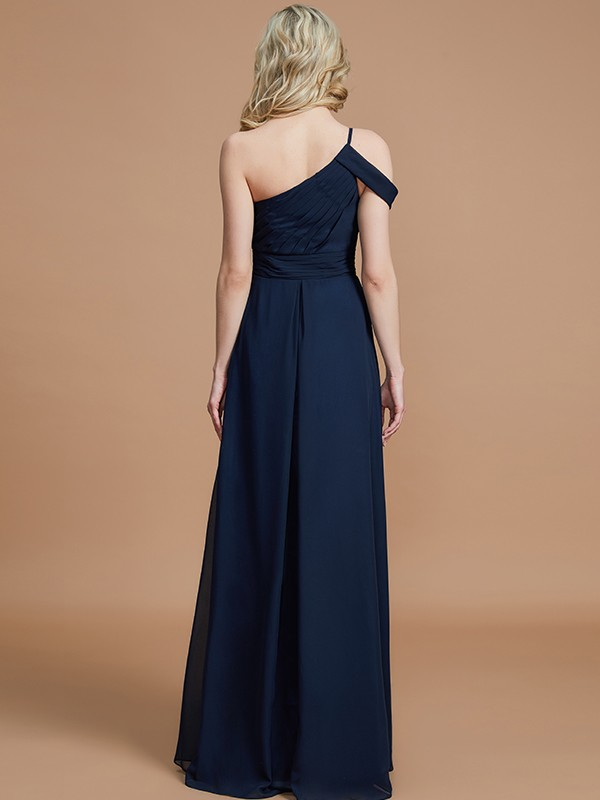 A-Line One-Shoulder Floor-Length Chiffon Sleeveless Bridesmaid Dresses