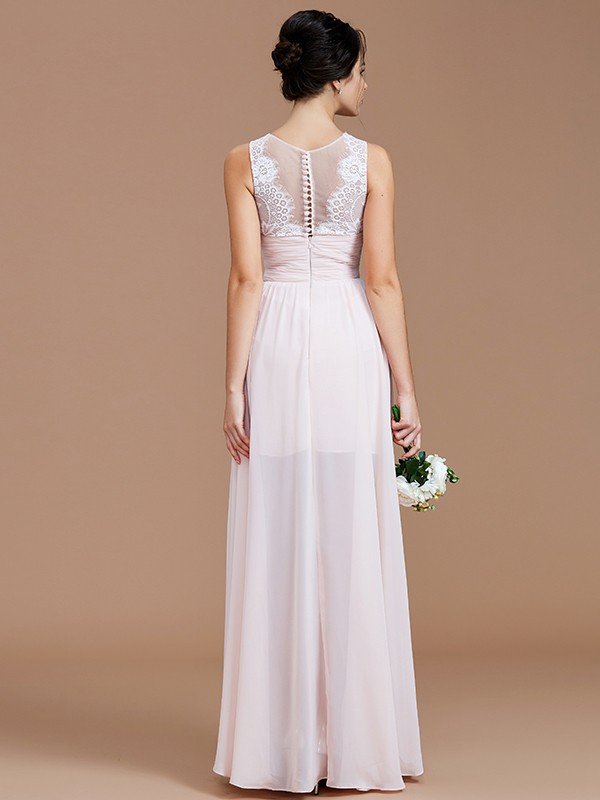 A-Line Jewel Sleeveless Ruched Floor-Length Chiffon Bridesmaid Dresses