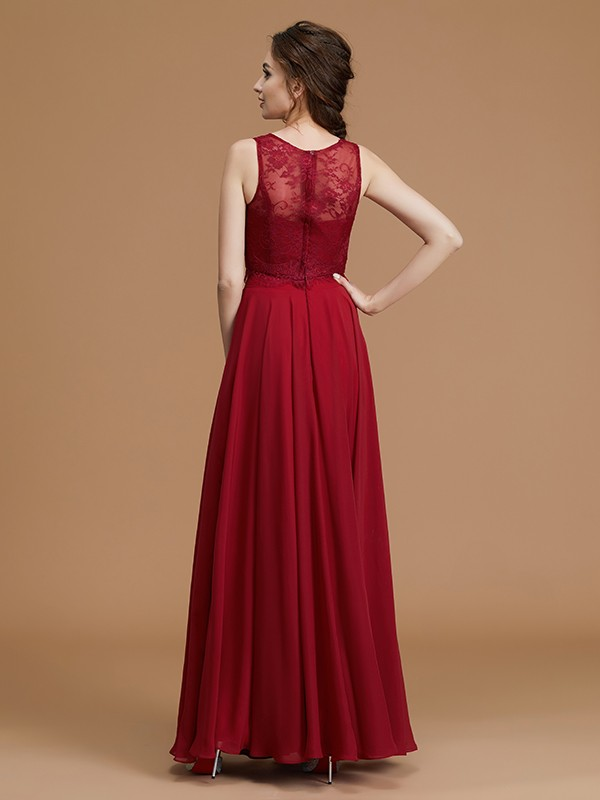 A-Line Bateau Sleeveless Floor-Length Chiffon Bridesmaid Dress