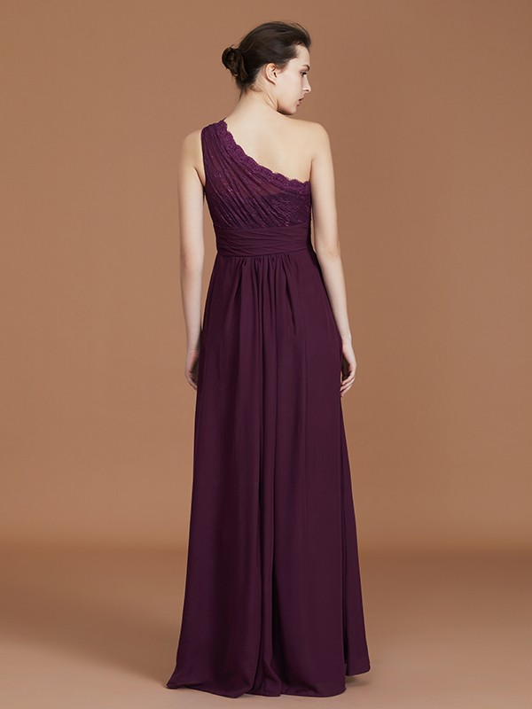 A-Line One-Shoulder Lace Chiffon Sleeveless Floor-Length Bridesmaid Dress