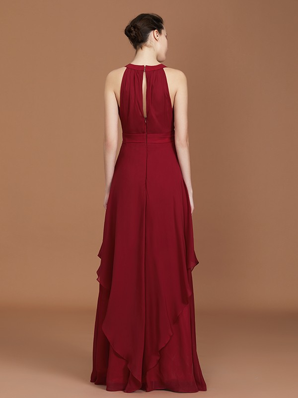 A-Line Straps Chiffon Floor-Length Sleeveless Bridesmaid Dress