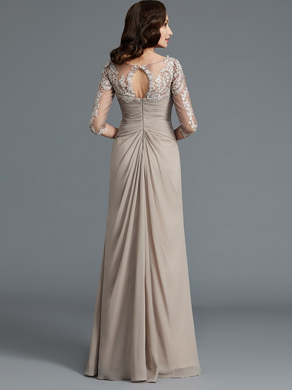 A-Line 1/2 Sleeves Scoop Applique Chiffon Floor-Length Mother of the Bride Dresses