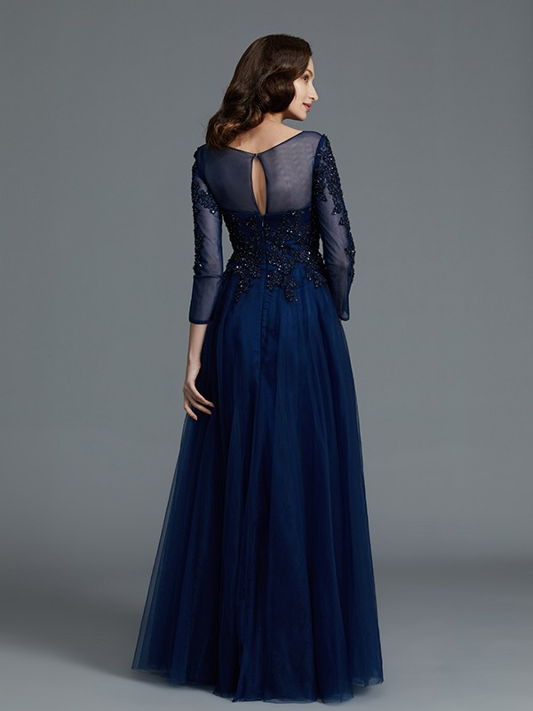 A-Line Long Sleeves Scoop Beading Floor-Length Tulle Mother of the Bride Dresses