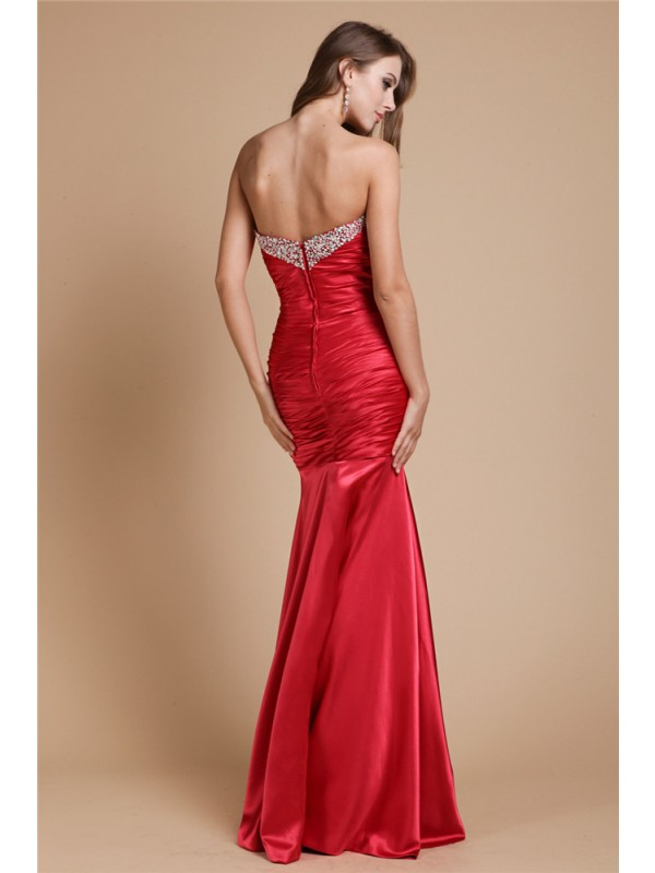Trumpet/Mermaid Sweetheart Long Sleeveless Elastic Woven Satin Beading Dresses