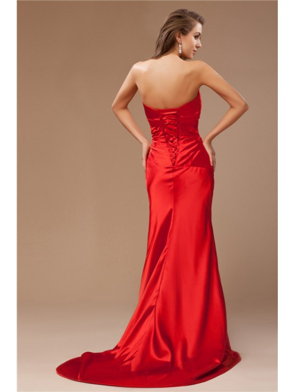 Trumpet/Mermaid Strapless Beading Long Sleeveless Taffeta Dresses