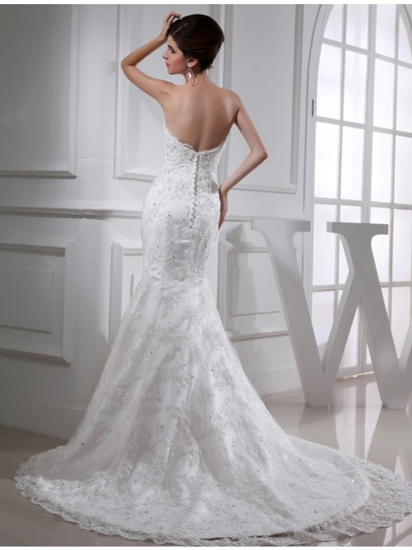 Trumpet/Mermaid Beading Sweetheart Sleeveless Satin Wedding Dresses