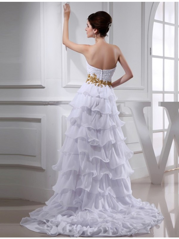 A-Line/Princess Beading Sweetheart Sleeveless High Low Applique Chiffon Cocktail Dresses