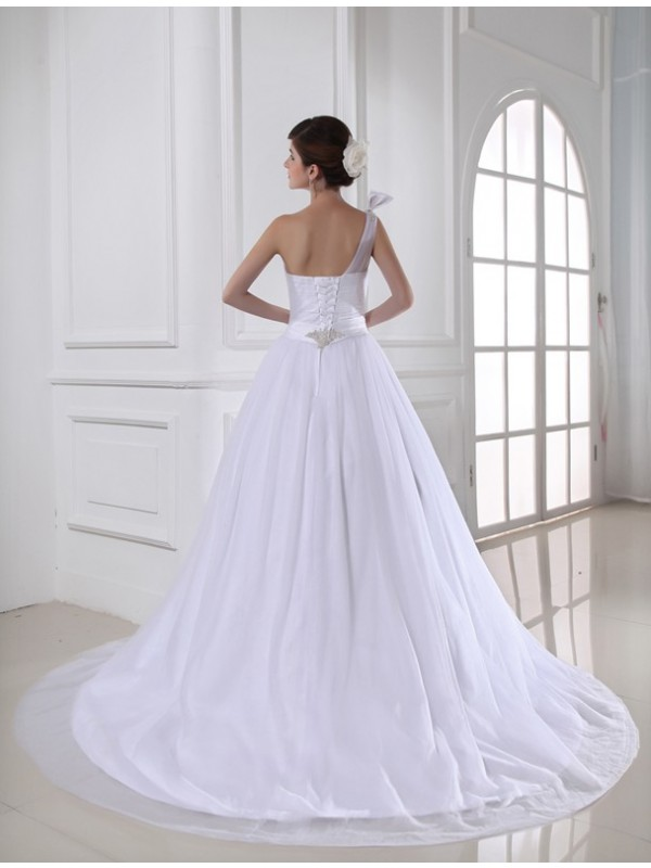 Ball Gown Beading One-shoulder Sleeveless Satin Tulle Wedding Dresses