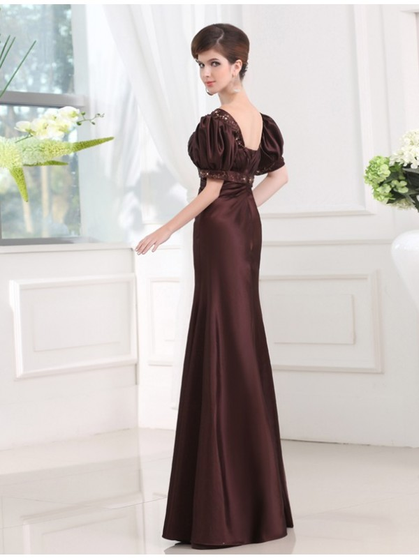 Sheath/Column Beading V-neck 1/2 Sleeves Long Satin Dresses